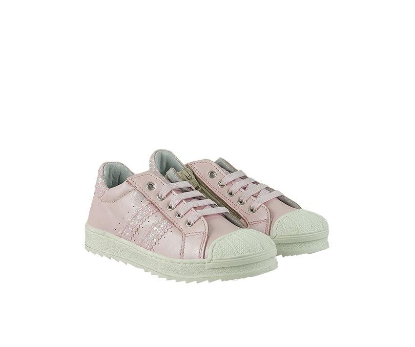 Детски спортни обувки от естествена кожа в светло розово декорирани с брокат (размер: 30-35)
