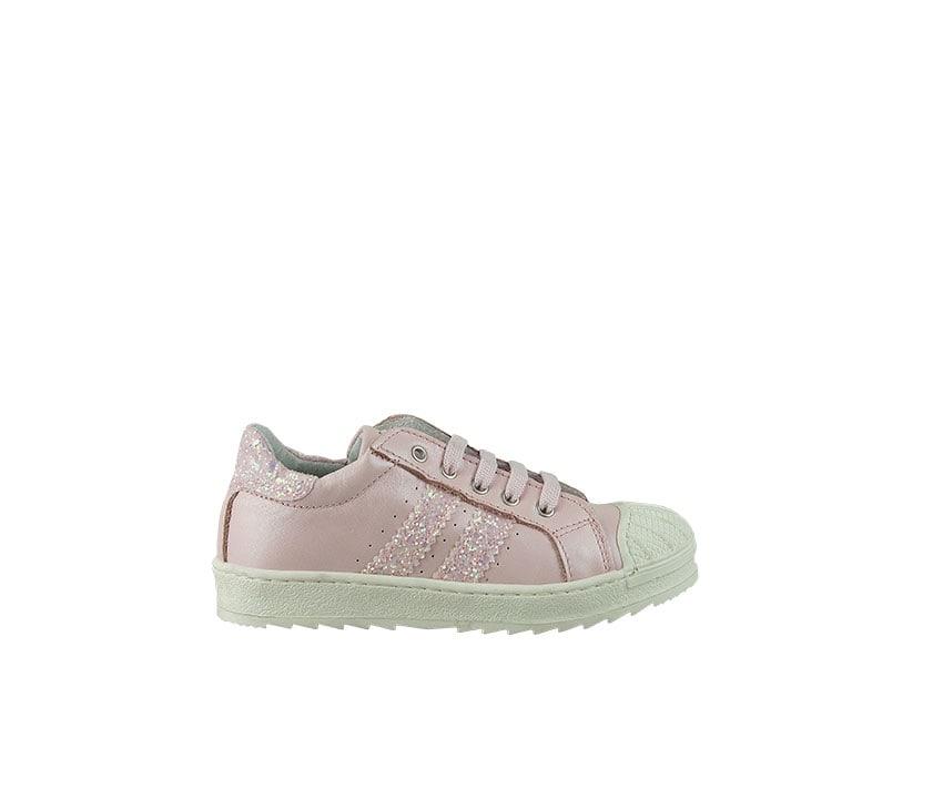 Детски спортни обувки от естествена кожа в светло розово декорирани с брокат (размер: 27-29)