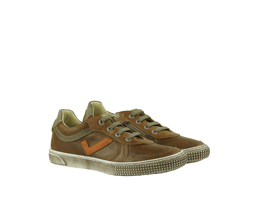 Юношески спортни обувки в цвят таба от естествена кожа (Размер: 30-35)