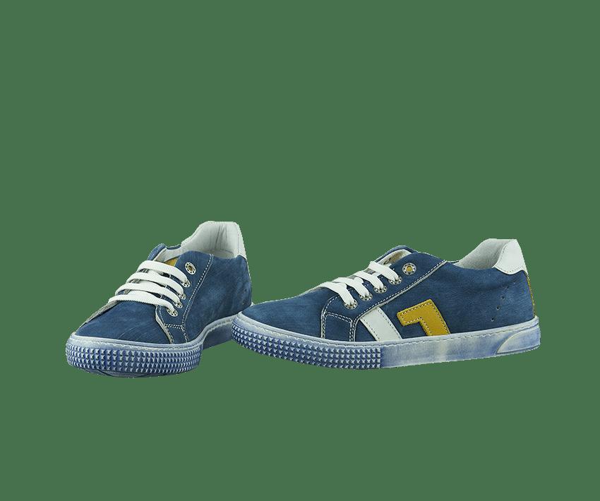 Юношески обувки от естествен набук в синьо и жълто (Размер: 30-35)