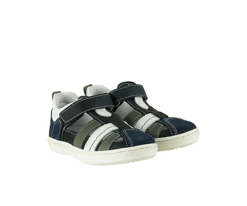 Детски сандали от естествена кожа и велур в тъмно синьо, бяло и сиво