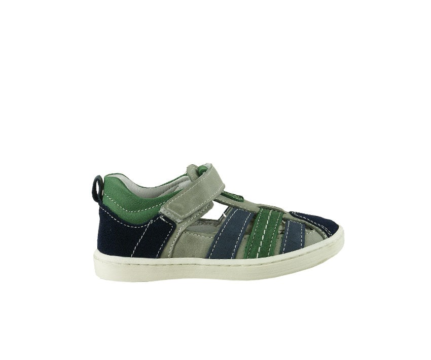 Детски сандали от естествена кожа и велур в сиво, зелено и синьо