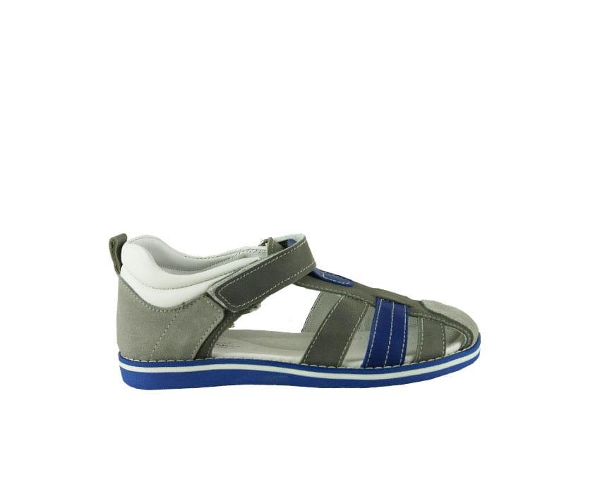 Детски сандали в сиво и синьо от естествена кожа и набук