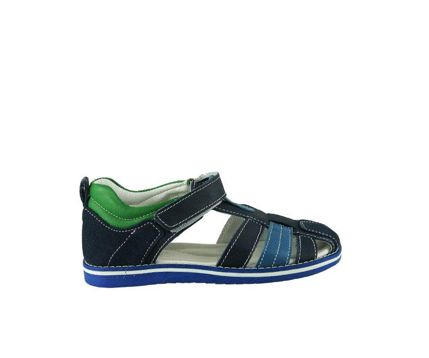 Детски сандали от естествена кожа в тъмно синьо и зелено