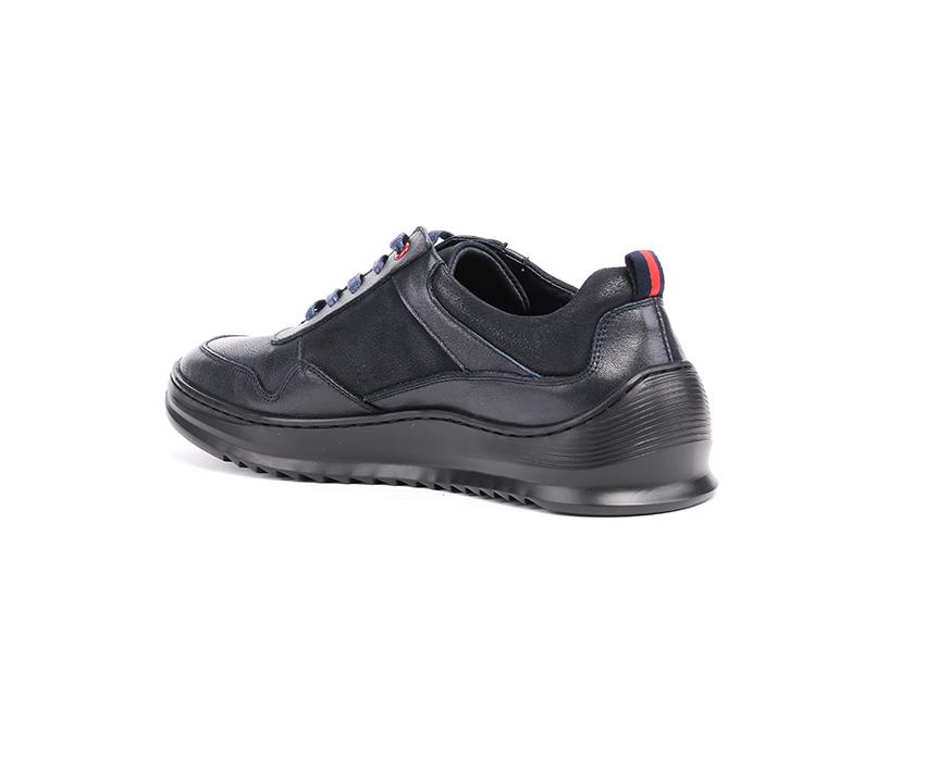 Спортни мъжки обувки в тъмно синьо от кожа и набук