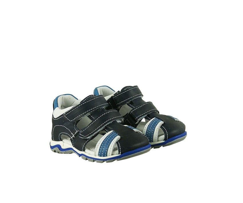 Детски сандали в тъмно син цвят от естествена кожа и набук
