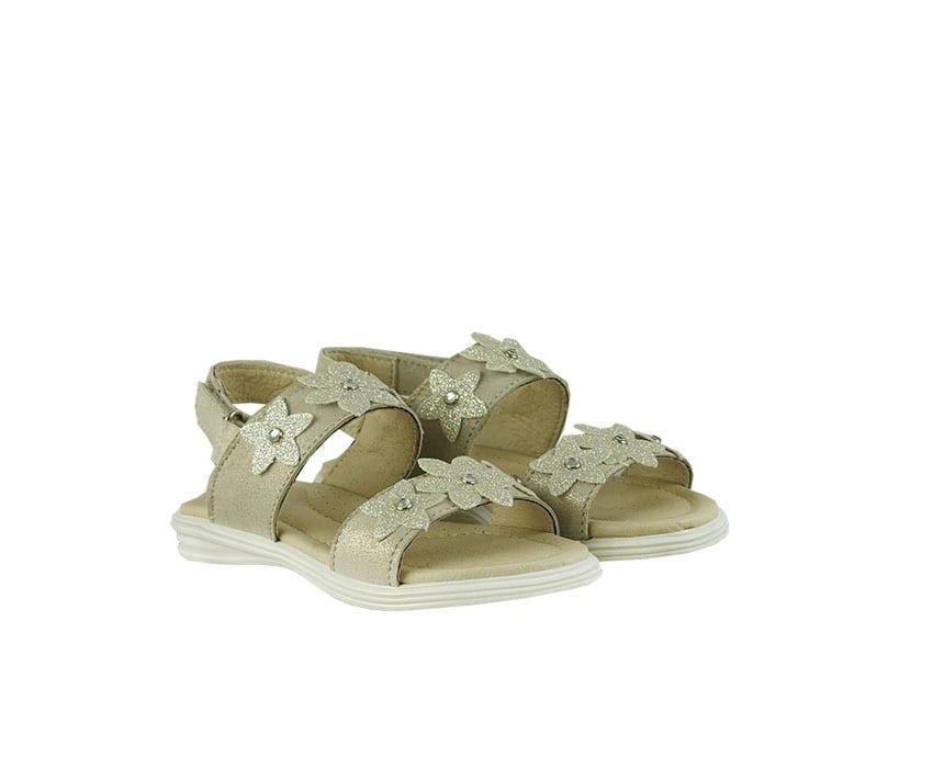 Детски сандали в цвят платина от естествена кожа декорирани с цирконий