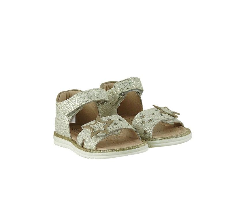Детски сандали от естествена ефектна кожа в бежово и златисто