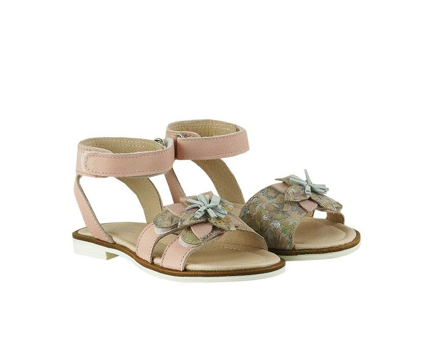 Детски сандали от естествена кожа в розово и ефектен велур с флорален принт