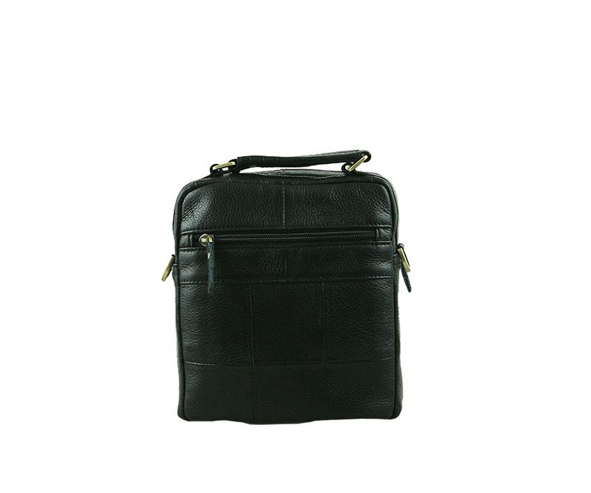 Мъжка чанта от естествена шагрен кожа в черно