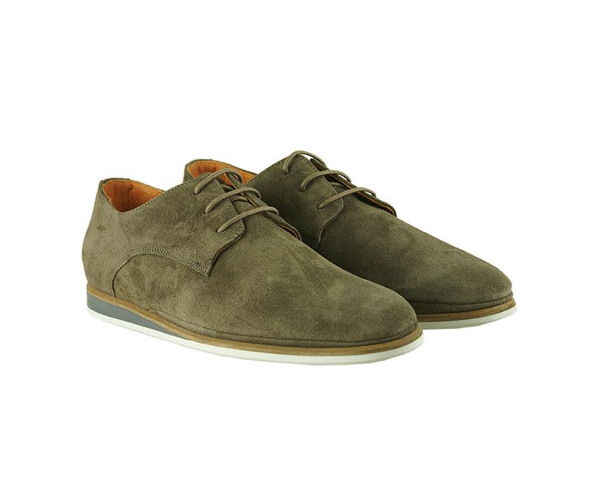 Ежедневни мъжки обувки в цвят таупе от естествен велур