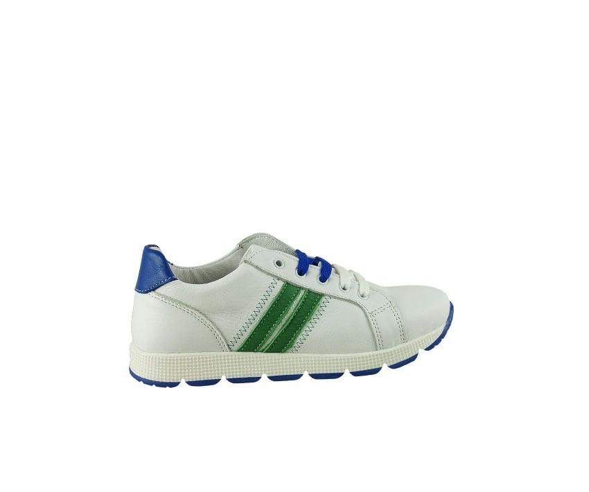 Детски спортни обувки от телешка напа в бяло, зелено и синьо (Размер: 30-39)