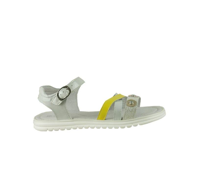 Детски сандали в бяло и жълто от естествена кожа и лак