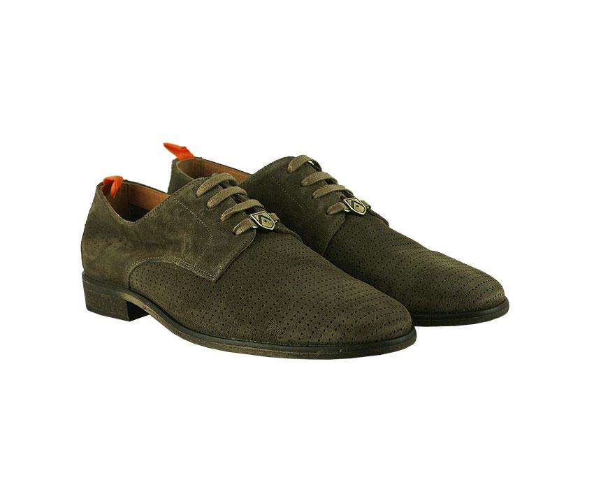 Мъжки обувки с лазерна перфорация от естествен велур в цвят таупе