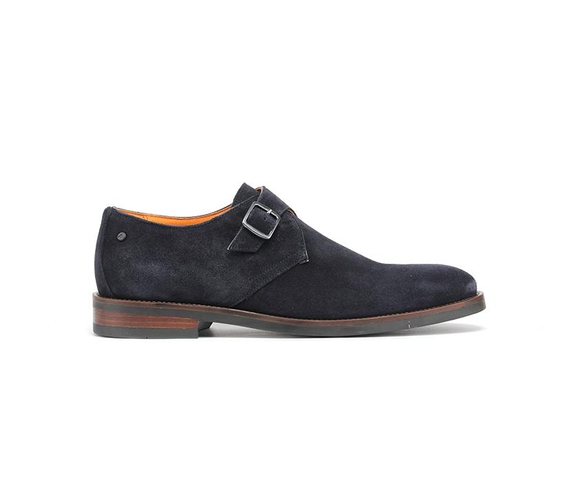 Стилни мъжки обувки от естествен тъмно син велур 58-navy