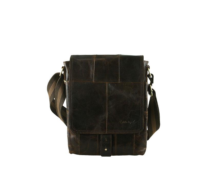 Мъжка чанта в цвят тъмно кафе