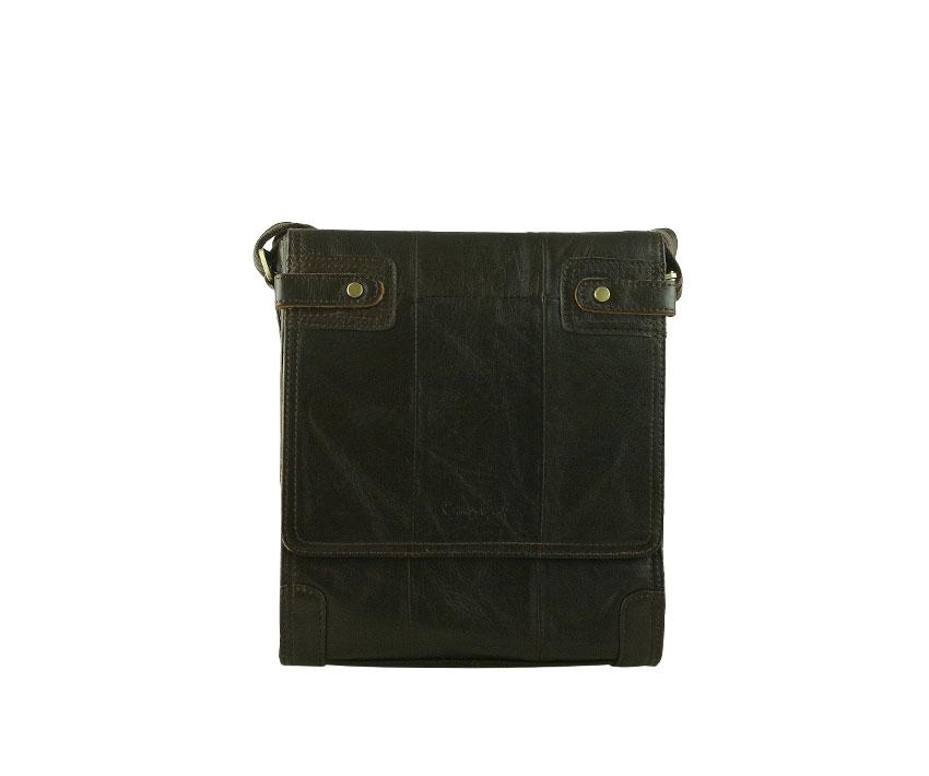 Мъжка чанта от тъмно кафява лицева естествена кожа