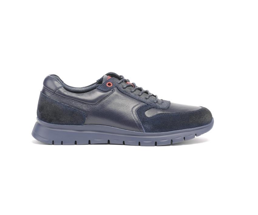 Ежедневни мъжки обувки от естествена кожа и велур в синьо и бордо