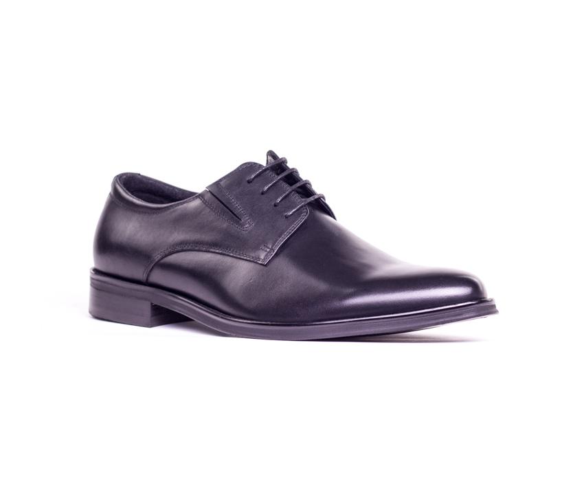 Елегантни мъжки обувки от естествена черна кожа 1325