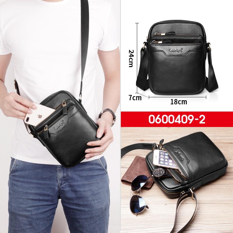 Мъжка чанта от естествена кожа с джобове и функционален дизайн