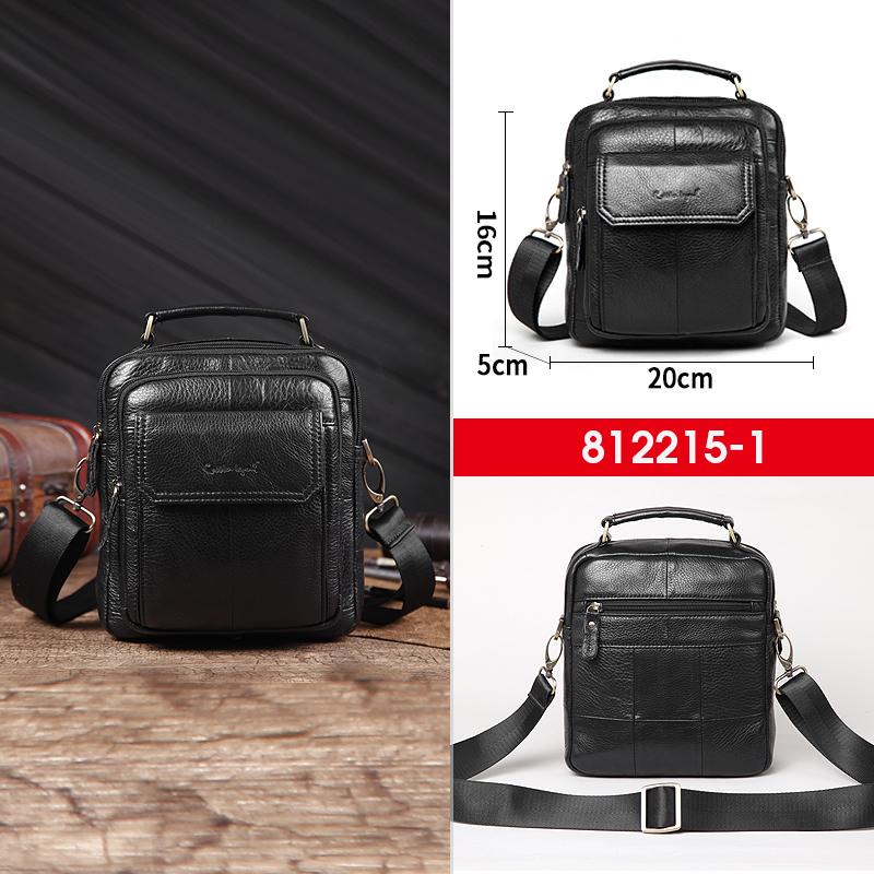 Кожена мъжка чанта за през рамо 812215 - black