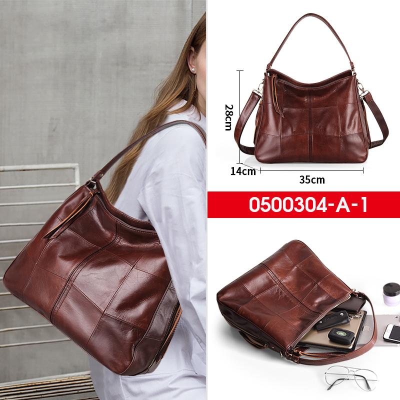Луксозна дамска чанта от естествена фина напа кожа в кафяво 0500304/A1-brown