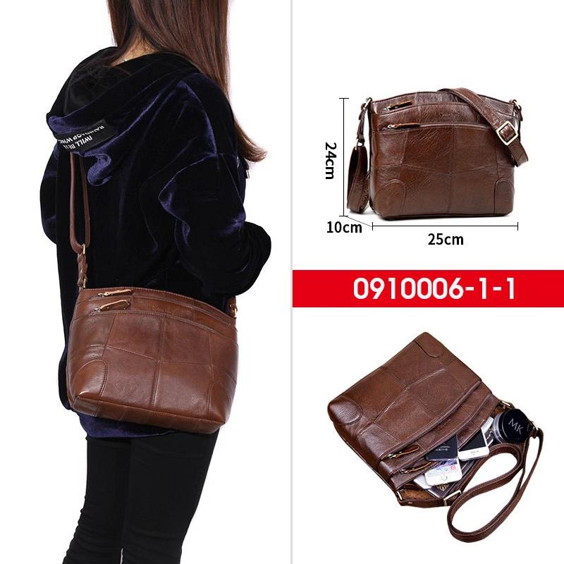 Малка дамска чанта в кафяв цвят от естествена кожа-0910006/1/1